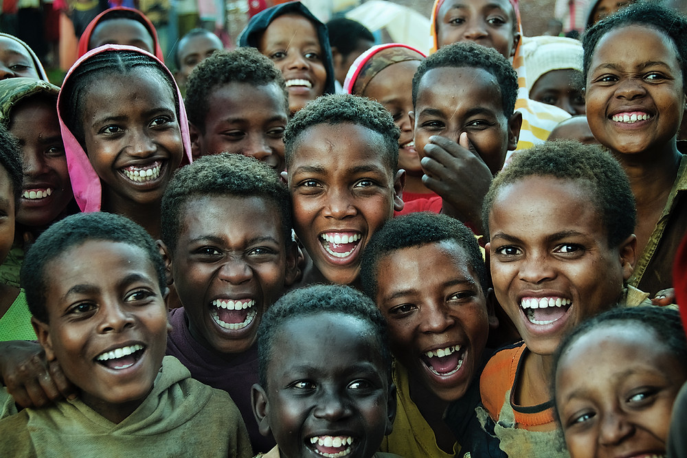 Happy African children smiling and laughing