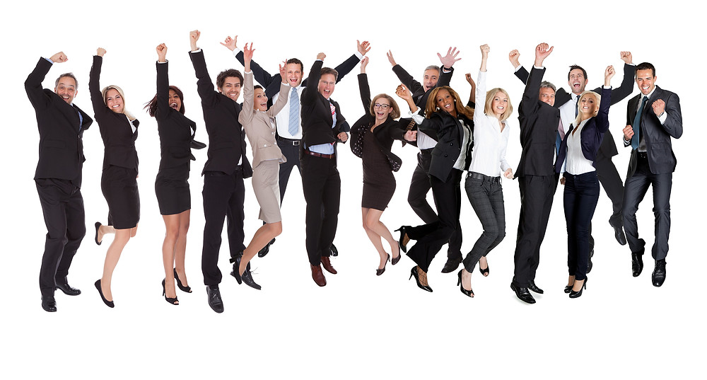 happy business people jumping dancing