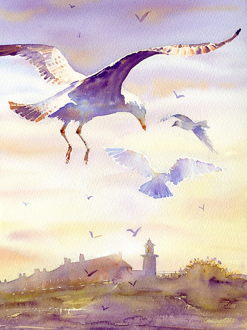 Signed, Limited Edition Print End of the Day in Southwold