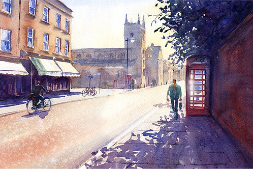 Signed, Limited Edition Print Early Morning on Bridge Street, Cambridge
