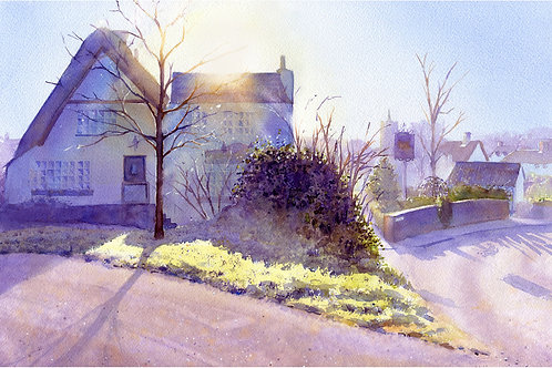 Signed, Limited Edition Print Sunrise over The Crown & Cushion, Great Gransden