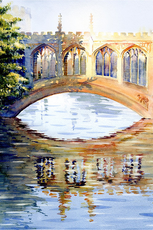 Signed, Limited Edition Print The Bridge of Sighs, Cambridge