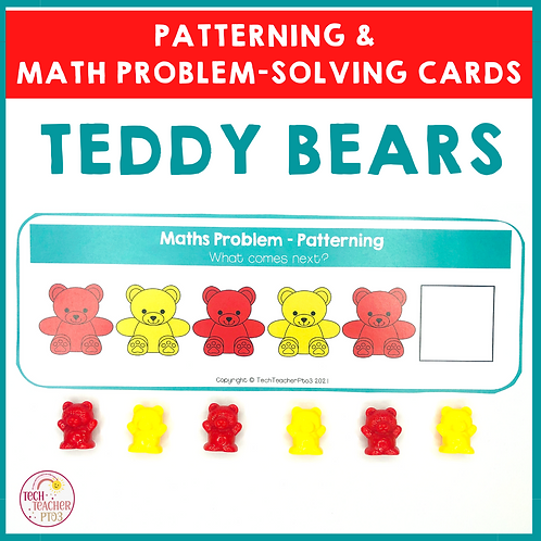 Teddy Bear Patterning and Math Problem Solving Cards