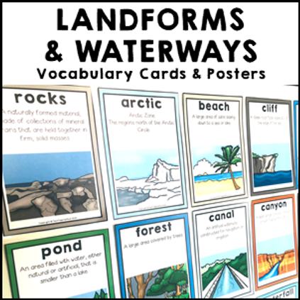 Landforms and Waterways Vocabulary Cards and Posters