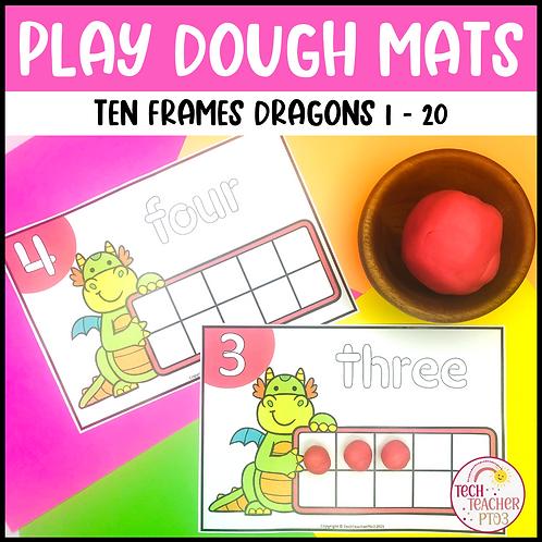Play Dough Number Mats Ten Frames Dragons 1 to 20