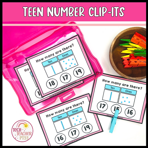 Clip It Teen Number Task Cards