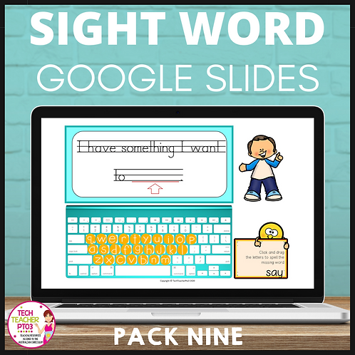 Sight Word Activities for Google Slides Pack Nine Interactive Distance Learning