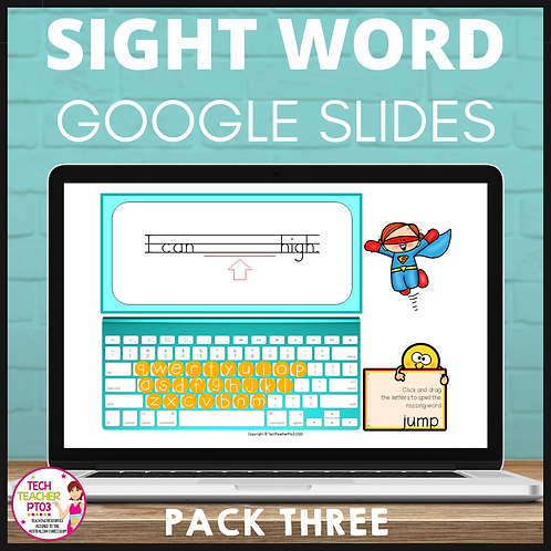 Sight Word Activities for Google Slides Pack Three Interactive Distance Learning