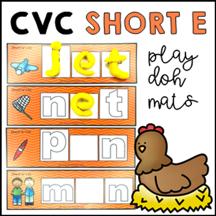 CVC Short E Phonics Sight Word Play Doh/Dough Mats