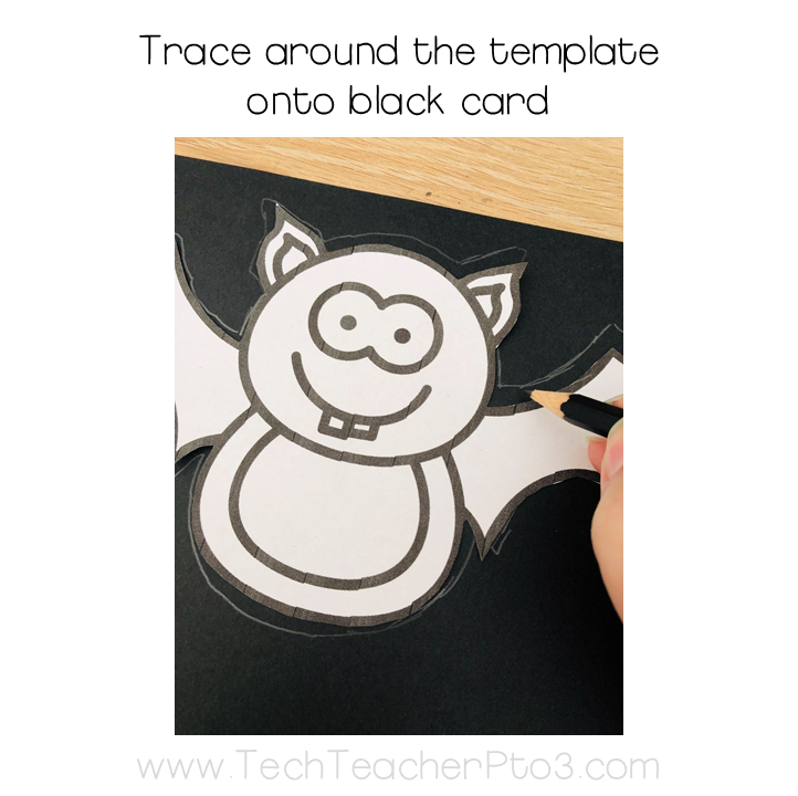 Trace the free bats template around card