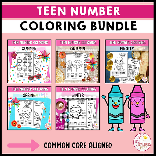 SAVE 30% Teen Number Activities Coloring Tally Marks Ten Frames Addition Bundle