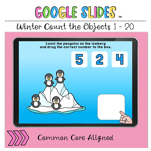 Winter Count the Objects 1 to 20 Google Slides™ Activity