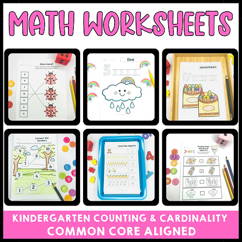 Kindergarten Counting and Cardinality Math Worksheets Common Core