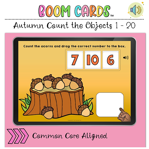 Autumn Fall Count the Number 1 to 20 BOOM LEARNING CARDS Activity