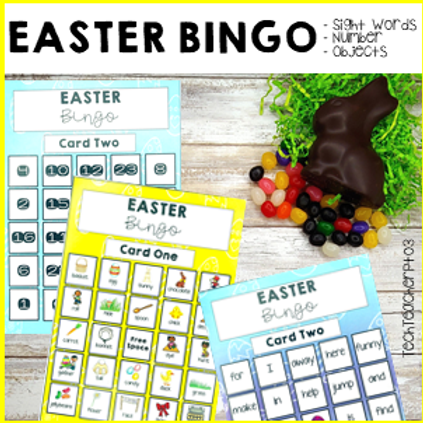 Easter Bingo Sight Words Objects and Number
