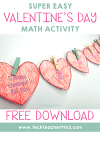 Super Easy Valentine's Day Math Activity for early years students. Perfect for teachers to download for free!