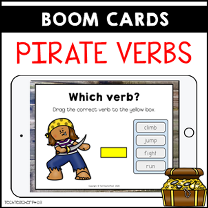 Parts of Speech Pirate Verbs BOOM LEARNING CARDS Distance Learning