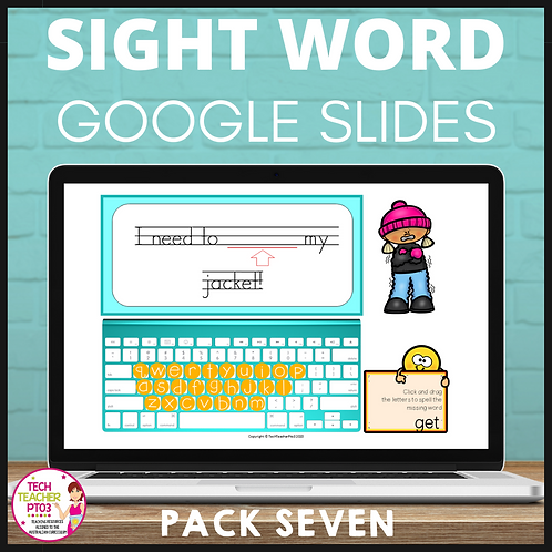 Sight Word Activities for Google Slides Pack Seven Interactive Distance Learning