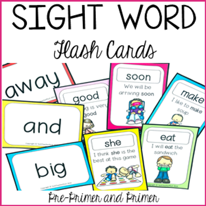 Sight Word Flash Cards - Pre-Primer and Primer Activities for Centers