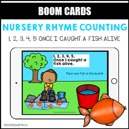 Nursery Rhyme Counting 12345 Once I caught a fish BOOM LEARNING CARDS Activity