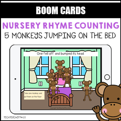 Nursery Rhyme Counting 5 Little Monkeys BOOM LEARNING CARDS Activity