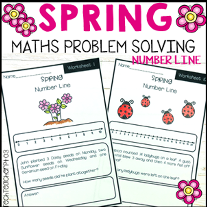 Spring Math Problem Solving Number Line Strategy