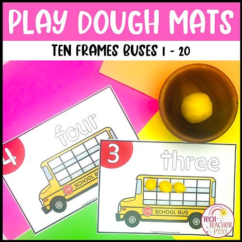 Play Dough Number Mats Ten Frames School Buses 1 to 20