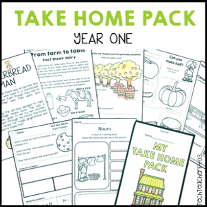 Take Home Pack Year One Homework No Prep