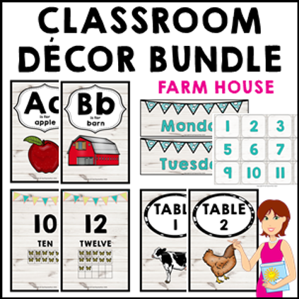 Farm House Classroom Decor Theme Bundle