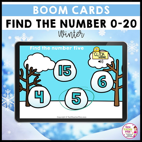 Find the Number 0-20 Winter BOOM LEARNING CARDS Activity