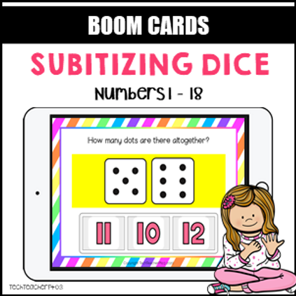 Subitizing Dice BOOM LEARNING CARDS Activity