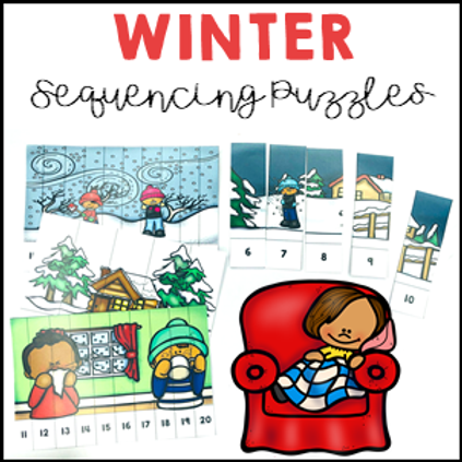 Winter Activities Number Sequencing Puzzles 1 to 20