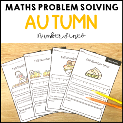 Autumn Math Problem Solving Number Line Strategy