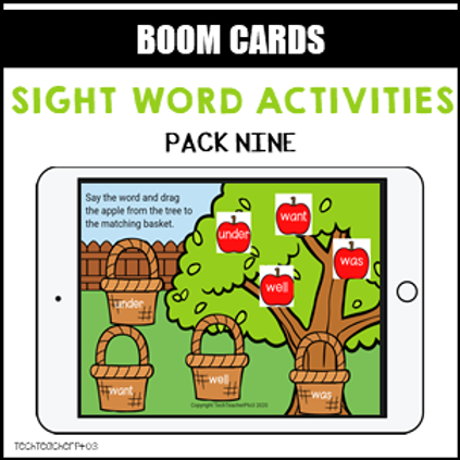 Sight Word Activities Pack Nine BOOM LEARNING CARDS