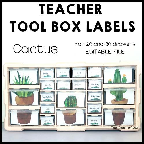 Cactus Teacher Tool Box Labels Editable