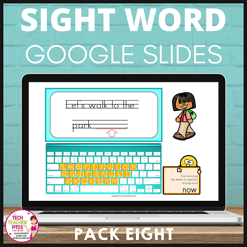 Sight Word Activities for Google Slides Pack Eight Interactive Distance Learning