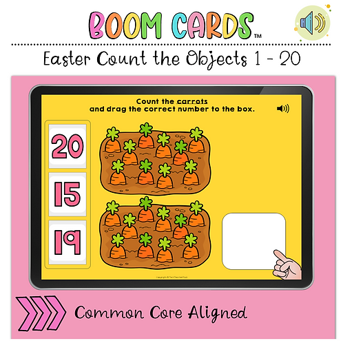 Easter Count the Number 1 to 20 BOOM LEARNING CARDS Activity