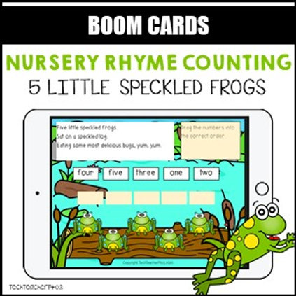 Nursery Rhyme Counting 5 Little Speckled Frogs BOOM LEARNING CARDS Activity