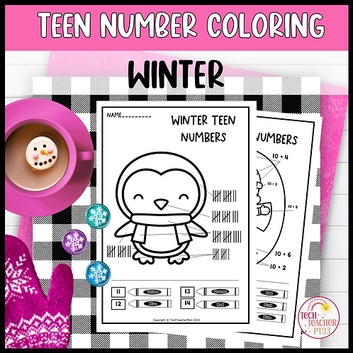 Teen Number Colouring Worksheets Winter Ten Frames Tally Marks Addition