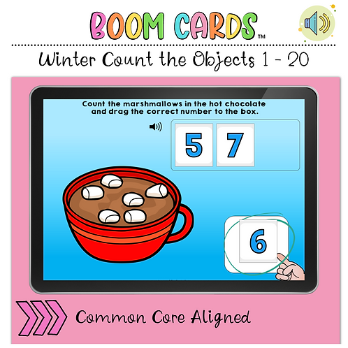 Winter Count the Number 1 to 20 BOOM LEARNING CARDS Activity