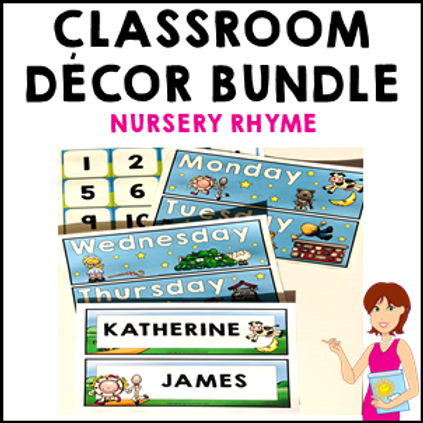 Nursery Rhyme Classroom Decor Theme Bundle