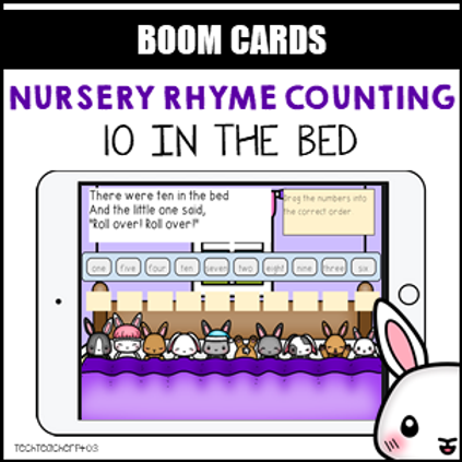 Nursery Rhyme Counting 10 In the Bed BOOM LEARNING CARDS Activity