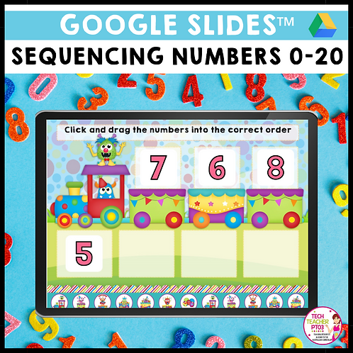 Sequencing Numbers 0-20 Google Slides Activity
