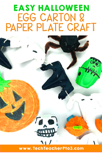 Easy Halloween egg carton and paper plate craft, perfect for early years teachers and students to do in primary schools.