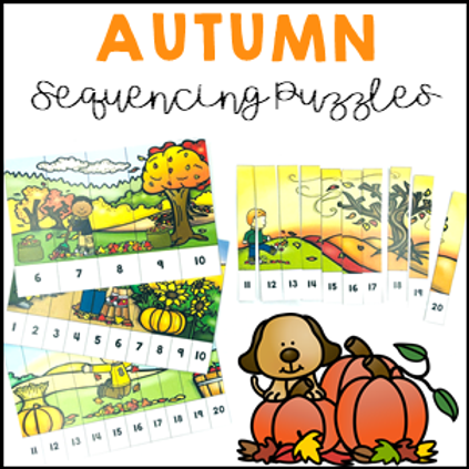 Autumn Activities Number Sequencing Puzzles 1 to 20