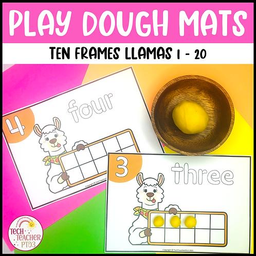 Play Dough Number Mats Ten Frames Llamas 1 to 20