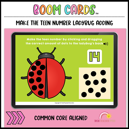 Make the Teen Number Ladybug 11 to 19 BOOM LEARNING CARDS Activity