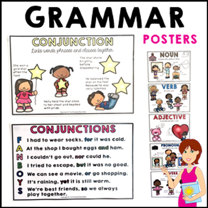 Parts of Speech Posters Grammar Adjectives Verbs Nouns and Pronouns