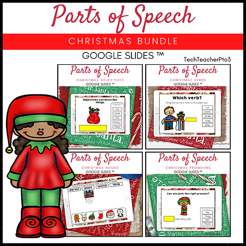 20% OFF Parts of Speech Christmas Bundle Grammar Activities Google Slides ™