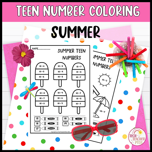 Teen Number Colouring Worksheets Summer Ten Frames Tally Marks Addition